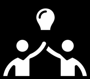 två tecknade figurer som slår händerna ihop och har en glödlampa ovanför sig